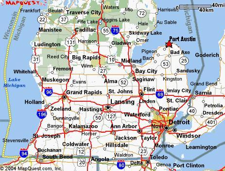 Map Of Port Austin Michigan Lake Vista Location, Driving Directions